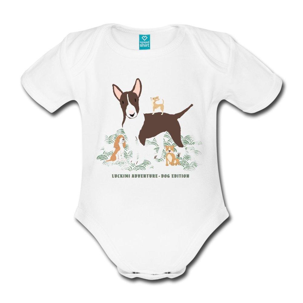 Här är vår fina babybody i ekologisk bomull med gulligt hundtryck.