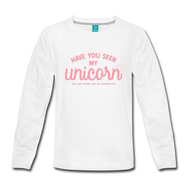 Vit långärmad t-shirt med rosa Unicorn-tryck. www.luckimi.com