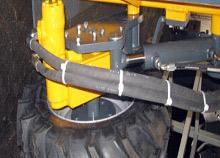 Hydraulisch angetriebenes und höhenverstellbares Stützrad (Option)