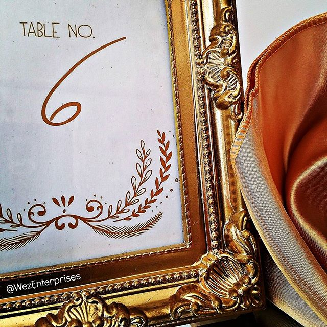 I DO love that something as simple as an ornate photo frame can display something like table numbers AND add beauty to a table setting!
