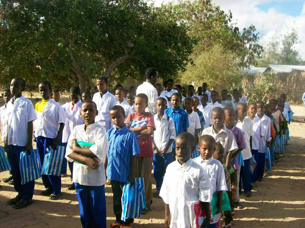 First day at the RAJO school, Abdi counts the students