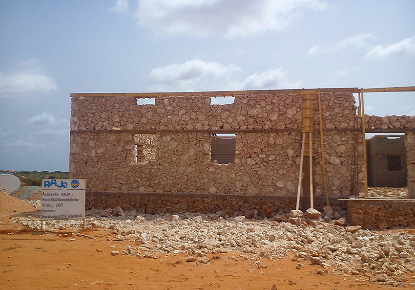 Progress work on a community hall in Hawa Abdi, Somalia in 2013