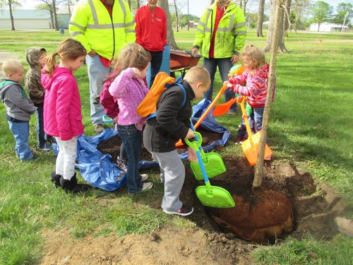 Planting Trees at the Darke County Fairgrounds.