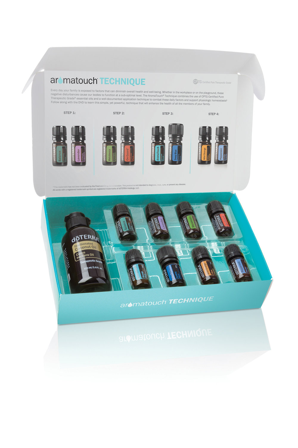 Increase the benefits you experience with CPTG® essential oils by incorporating the AromaTouch® Technique into your healthy lifestyle philosophy. This kit contains 5 mL bottles of dōTERRA Balance®, Lavender, Peppermint, Melaleuca, Wild Orange, AromaTouch, Deep Blue®, and dōTERRA On Guard®. For a limited time, you will also receive dōTERRA Fractionated Coconut Oil (4 oz.) when you purchase this kit. -