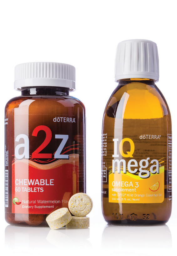 dōTERRA a2z Chewable™ and IQ Mega® PackCombined to offer needed nutrients in easy-to-take forms, the doTERRA a2z Chewable and IQ Mega Pack contains two nutrient rich products that work together to provide a life-long foundation of vitality and wellness.*DescriptionInspired by the doTERRA Lifelong Vitality Pack®, these two products come together, making it easy to enjoy taking omega-3s, whole food nutrients, vitamins, and minerals in convenient liquid and chewable forms. Kids love them because they taste great; adults love them because they are easy to swallow -