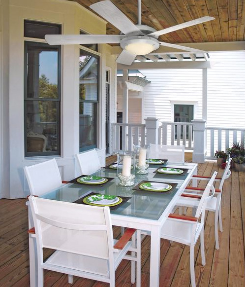 Adding a ceiling fan to an outdoor space is the perfect touch to a more comfortable outdoor experience.