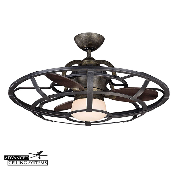 Caged ceiling fans - Enclosed ceiling fan with light
