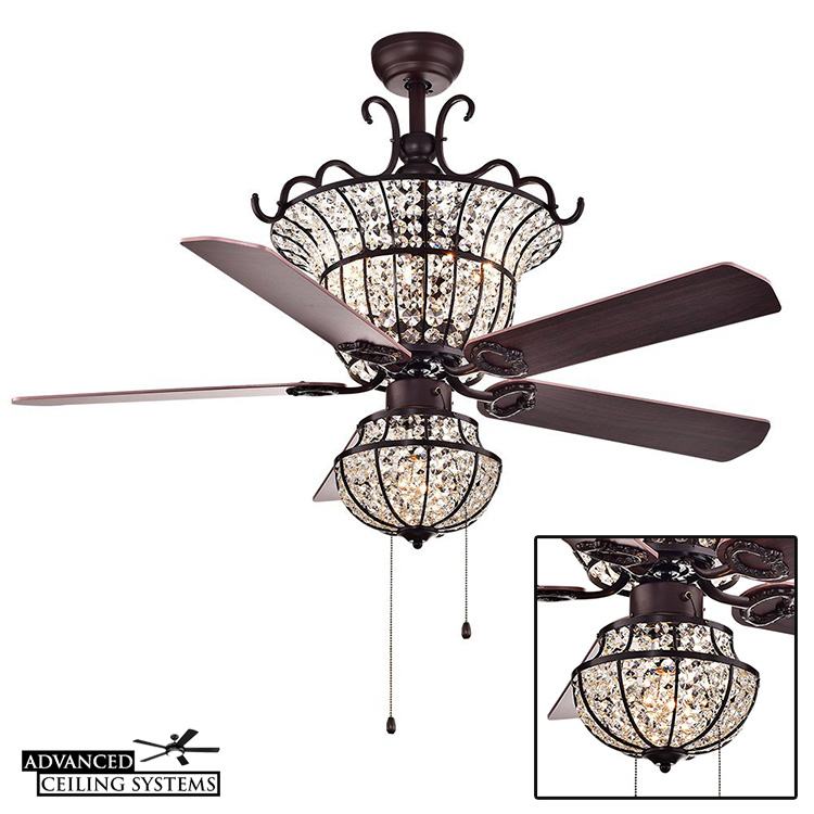 Shabby chic chandelier ceiling fan with light