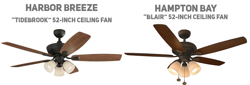 Subtle differences between Hampton Bay and Harbor Breeze 52-inch ceiling fans.