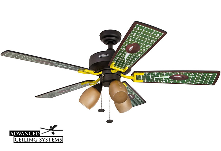 7 coolest man cave ceiling fans advanced ceiling systems football man cave ceiling fang mozeypictures Choice Image