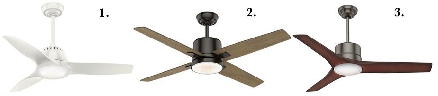 """Best Casablanca ceiling fans:  1. Casablanca Wisp 44"""" Ceiling Fan  2. Casablanca Axial 52"""" Ceiling Fan  3. Casablanca Piston Outdoor/Indoor Ceiling Fan"""