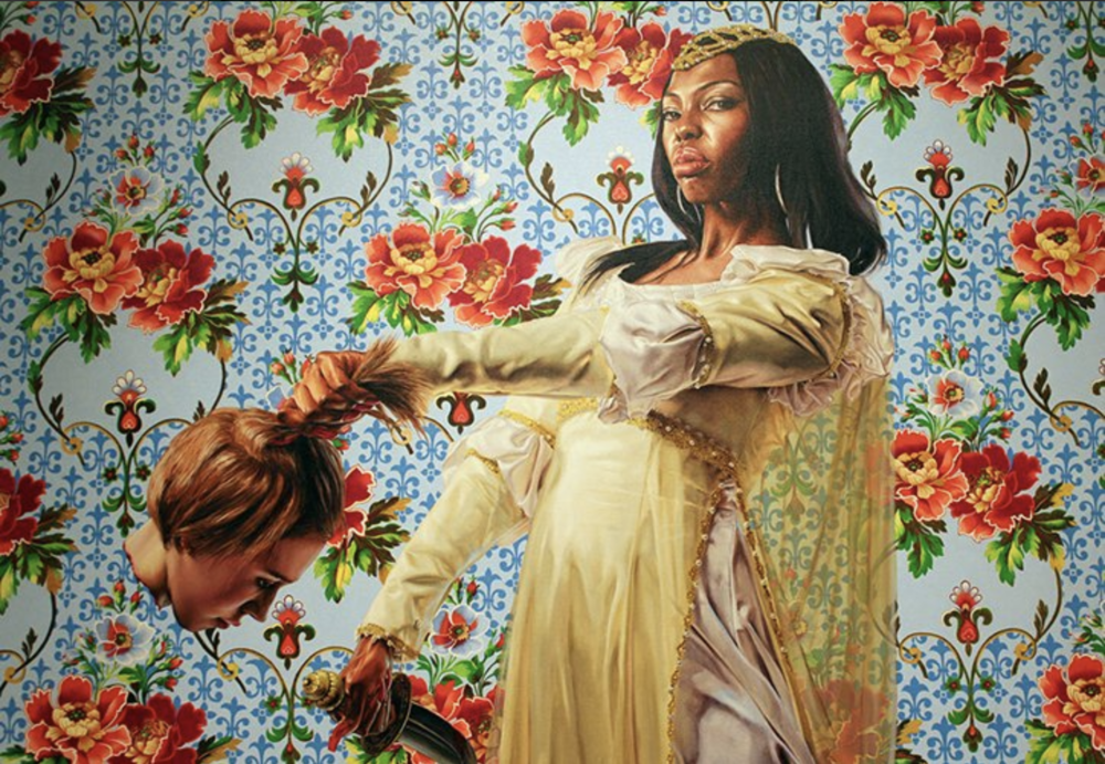 Kehinde Wiley painting, black beheading white