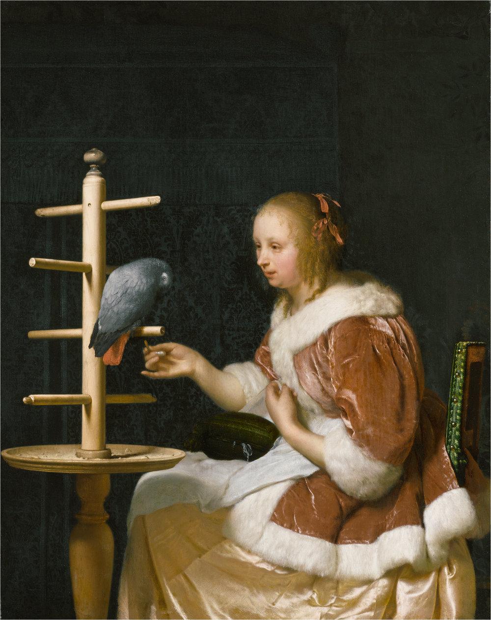 Frans van Mieris  Woman Feeding a Parrot , 1663 oil on panel unframed: 22.38 17.78 cm (8 13/16 7 in.) framed: 40.01 35.2 5 cm (15 3/4 13 7/8 2 in.) The Leiden Collection, New York © The Leiden Collection, New York