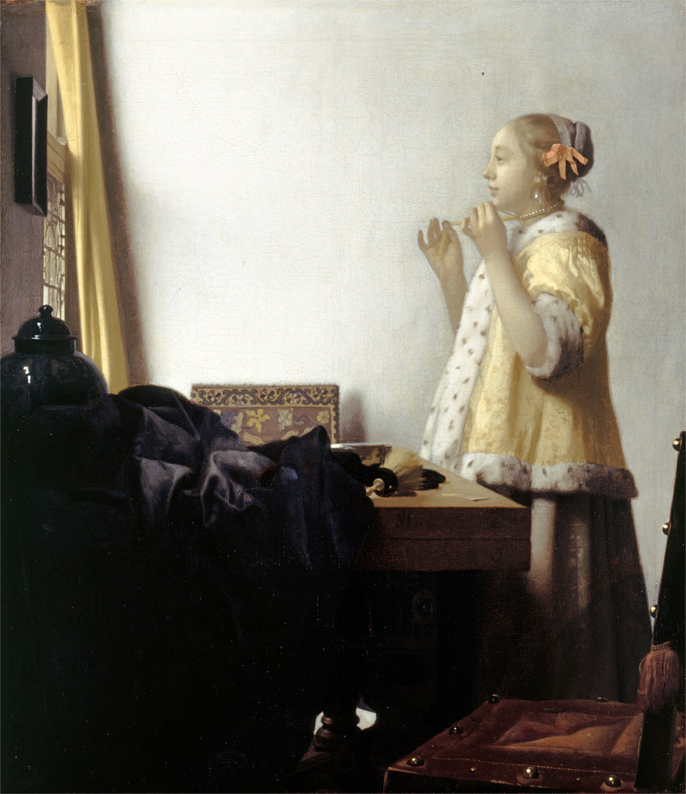 Johannes Vermeer  Woman with a Pearl Necklace , c. 1662-65 oil on canvas Overall (painted surface): 51.2 x 45.1 cm (20 3/16 x 17 3/4 in.) overall (unframed): 55 x 45 cm (21 5/8 x 17 11/16 in.) overall (framed): 76 x 69 cm (29 15/16 x 27 3/16 in.) Staatliche Museen zu Berlin, Gemäldegalerie bpk/Gemäldegalerie, SMB/Jörg P. Anders