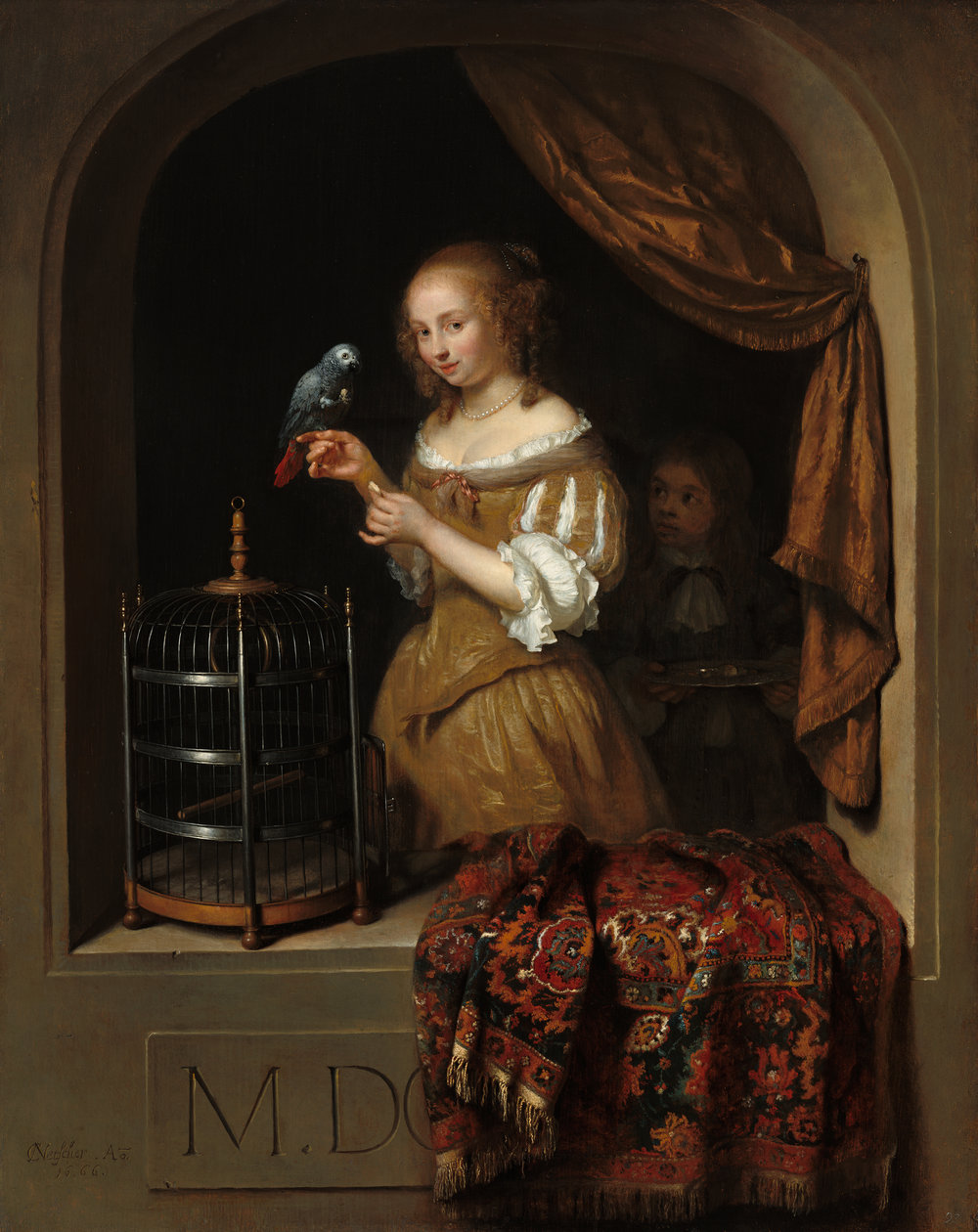 Caspar Netscher  Woman Feeding a Parrot, with a Page , 1666 oil on panel overall: 45.7 36.2 cm (18 14 1/4 in.) National Gallery of Art, Washington, The Lee and Juliet Folger Fund