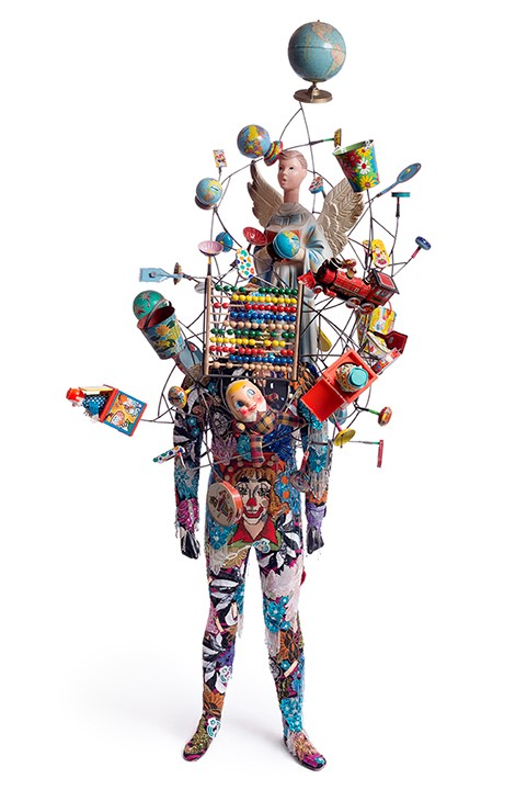 Nick Cave (b. 1959) Soundsuit, 2015 Mixed media including beaded and sequined garments, fabric, hair, and found objects 112 1/8 x 49 x 50 in. (284.8 x 124.46 x 127 cm) Museum purchase; Acquisition Fund 2015.13 ©Nick Cave.  Photo by James Prinz Photography.   Courtesy of the artist and Jack Shainman Gallery, New York.