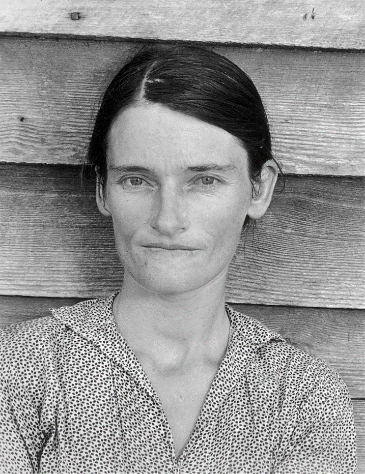 Walker Evans, Allie Mae Burroughs, Wife of a Cotton Sharecropper, Hale County, Alabama, 1936; private collection; © Walker Evans Archive, The Metropolitan Museum of Art, New York.