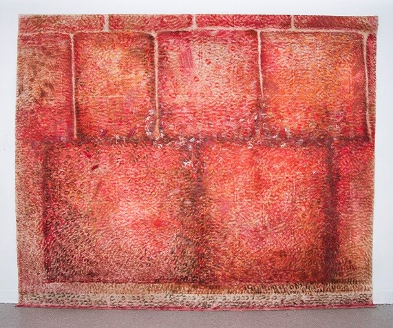 """""""The Kissing Wall,"""" Delgado, Ronit Levin. Lipstick on canvas. 10' x 8'. 2013."""