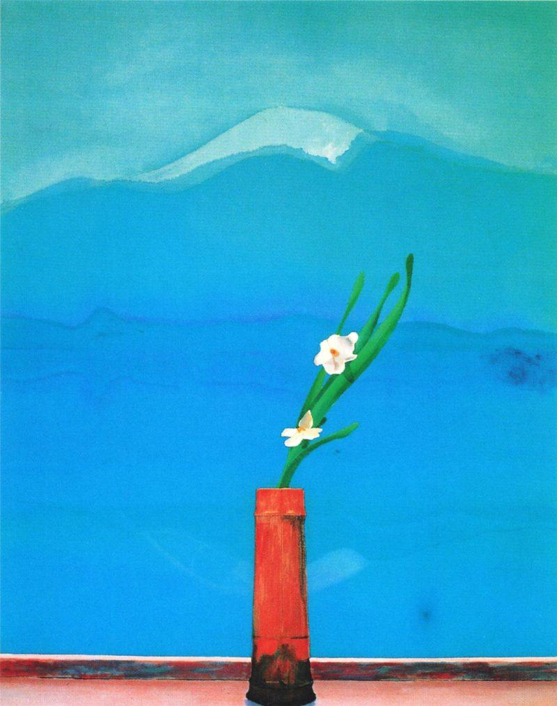Hockney, David. Mount Fuji and Flowers. 1972. Acrylic on canvas. Metropolitan Museum of Art, New York City, New York. The Met webpage for this painting.