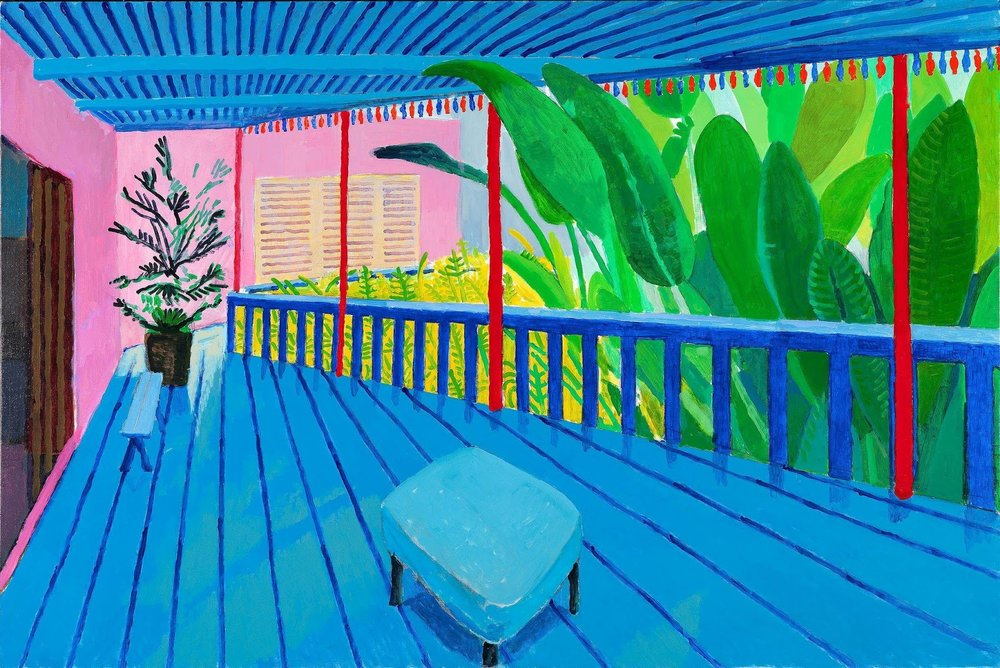 """""""Garden With Blue Terrace"""" (2015) defies the laws of perspective by seeming to advance and recede at the same time.Credit: David Hockney  From the New York Times Deborah Solomon Review"""