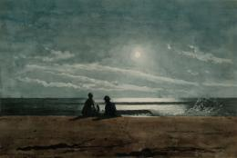 Homer, Winslow. Moonlight. 1874. Watercolor. The Arkell Museum.