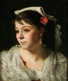 Sargent, John Singer. Head of An Italian Woman. 1878. Oil on Canvas. The Arkell Museum.
