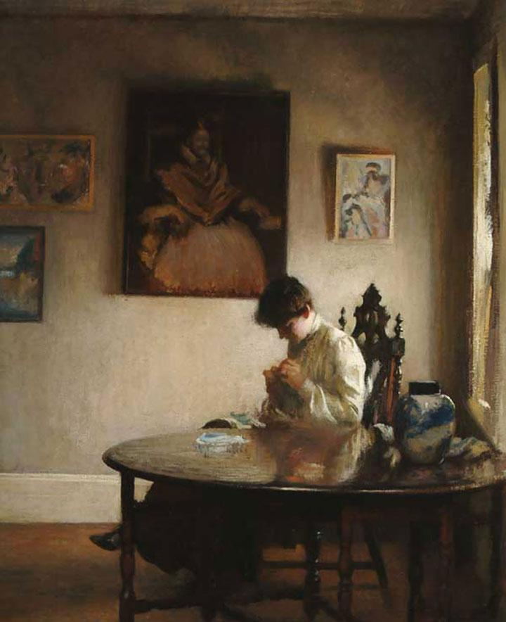 Tarbell, Edmund. Girl Crocheting. 1904. Oil on Canvas. Gift of Bartlett Arkell. The Arkell Museum.