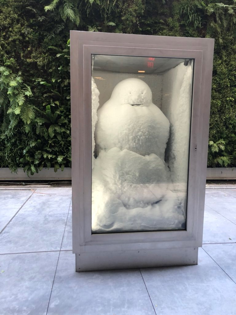At the Museum of Modern Art this summer 2018 -- Peter Fischli and David Weiss, Snowman, 1987/2016 ; © the artists, courtesy Matthew Marks Gallery; photo: Mary Ellen Hawkins. (Photo from the San Francisco MOMA).