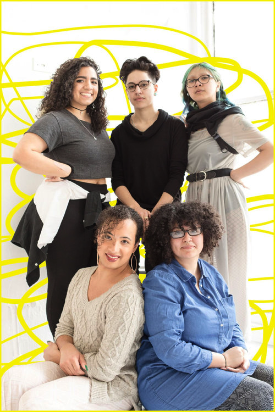 Photo Courtesy of Corkscrew Festival webpage. Clockwise from top left: playwright Juliany Taveras, director Manny Rivera, stage manager Rafael Tawasil, dramaturg/actor Jackie Torres, choreographer Ianne Fields Stewart