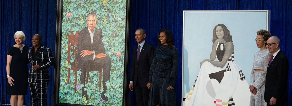 Presidential Portrait Unveiling (left to right): Kim Sajet, Director of the National Portrait Gallery; Artist, Kehinde Wiley; President Barack Obama and Michelle Obama; Artist, Amy Sherald; Smithsonian Secretary, David Skorton. Photo courtesy of the National Portrait Gallery website.