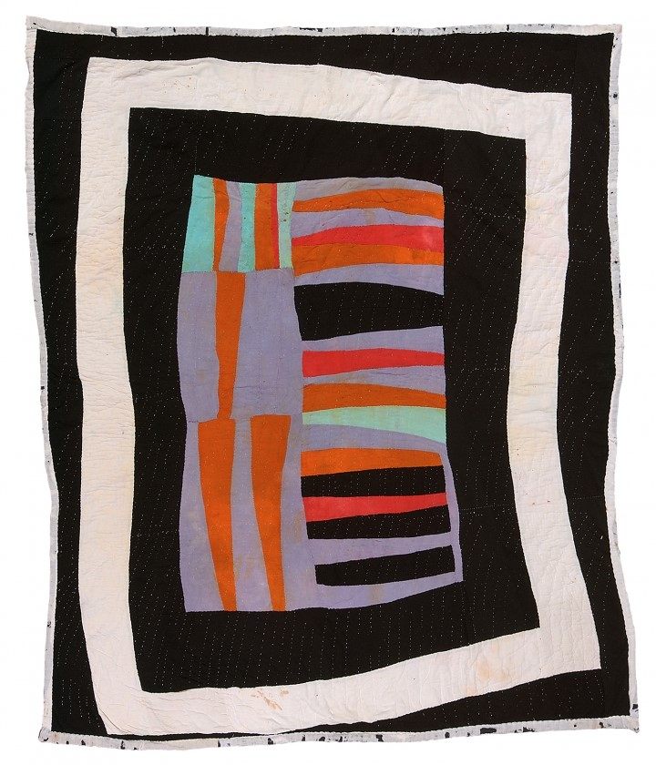 "Loretta Pettway, ""Medallion"" (circa 1960), synthetic knit and cotton sacking material, 81.75 x 70 inches."