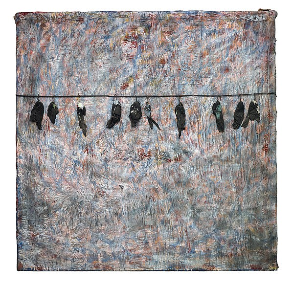 "Thornton Dial, ""The End of November: The Birds That Didn't Learn How to Fly"" (circa 2007), quilt, wire, fabric, and enamel on canvas on wood, 72 x 72 inches."