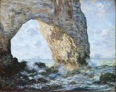 "Claude Monet. ""The Manneporte (Etretat)."" Oil on Canvas. 25 ¾ in x 32 in. Metropolitan Museum of Art."
