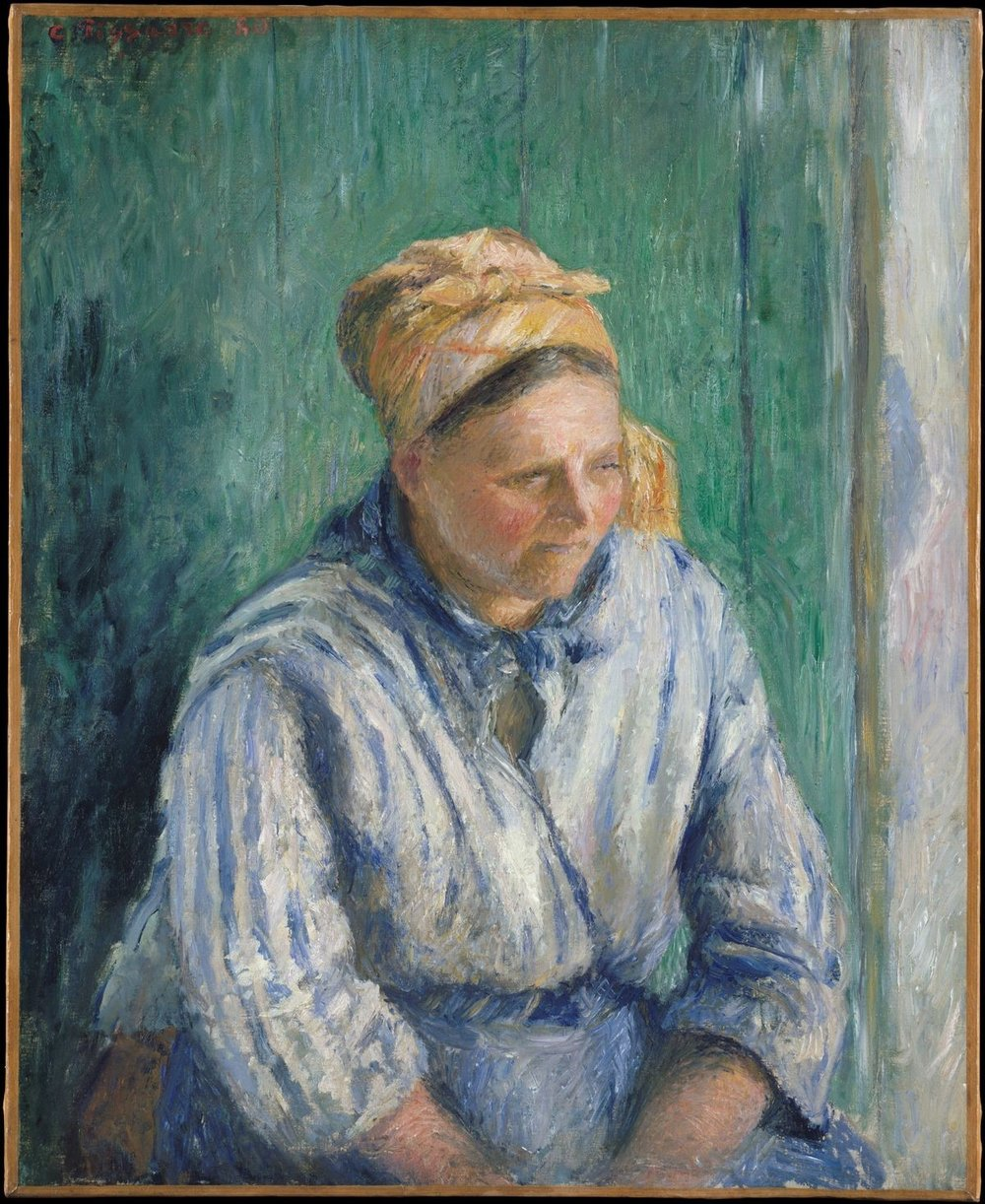 "Camille Pissarro. ""Washerwoman Study."" 1880. Oil on Canvas. 28 ¾ in x 23 ¼ in. Metropolitan Museum of Art."