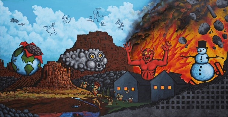 David Wojnarowicz (1954–1992),  Earth, Wind, Fire, and Water,  1986. Acrylic and spray paint on canvas, 78 ¾ in. × 157 ½ in. (200 × 400 cm). Private collection, Image courtesy Daniel Buchholz and Christopher Müller, Cologne, photograph by Nick Ash.