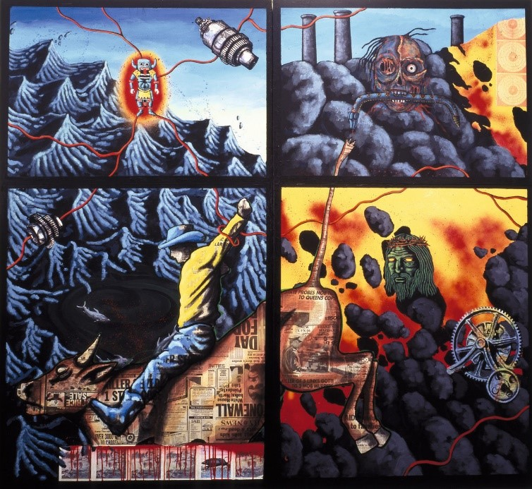 The Death of American Spirituality , 1987. Spray paint, acrylic, and collage on plywood, two panels, 81 × 88 in. (205.7 × 223.5 cm) overall. Private collection. © 1987 The Peter Hujar Archive LLC, courtesy Pace/MacGill Gallery, New York.