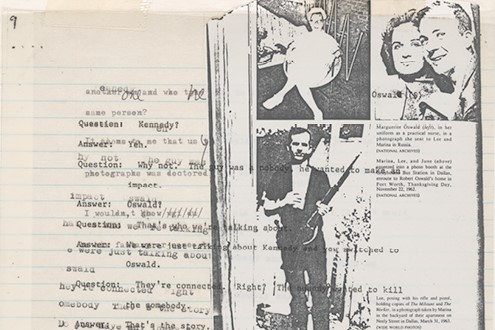 Image: Lutz Bacher. The Lee Harvey Oswald Interview (detail), 1976. Collage in 18 parts. The Metropolitan Museum of Art, New York, Purchase, The Horace W. Goldsmith Foundation Gift, through Joyce and Robert Menschel and Anonymous Gift, 1999. Courtesy of the artist and Greene Naftali, New York