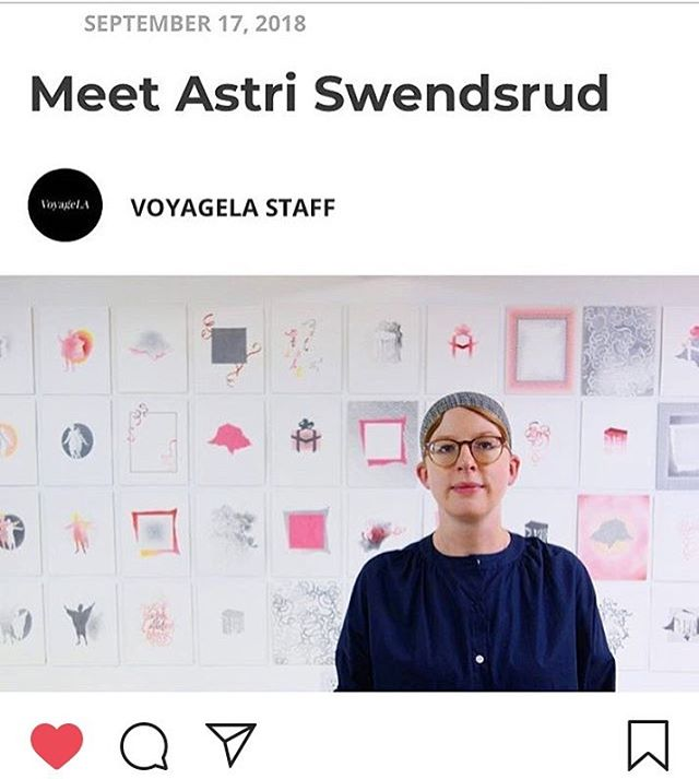 Check out artist @alswendsrud featured on Voyage LA. http://voyagela.com/interview/meet-astri-swendsrud/