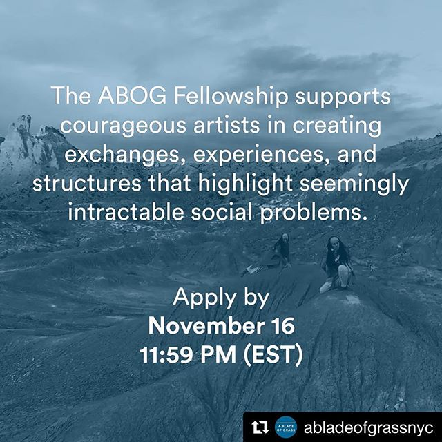 Repost @abladeofgrassnyc 🎊 ・・・ Does your art practice creatively enact social change? Apply for the ABOG Fellowship! Read our full open call and application guidelines on our website and join us on ✨October 9✨for a hands-on workshop with ABOG fellow @miguelluciano_ny. Click the link in our bio for more information.⠀ ⠀⠀ #abladeofgrass #ABOGFellows #sociallyengagedart