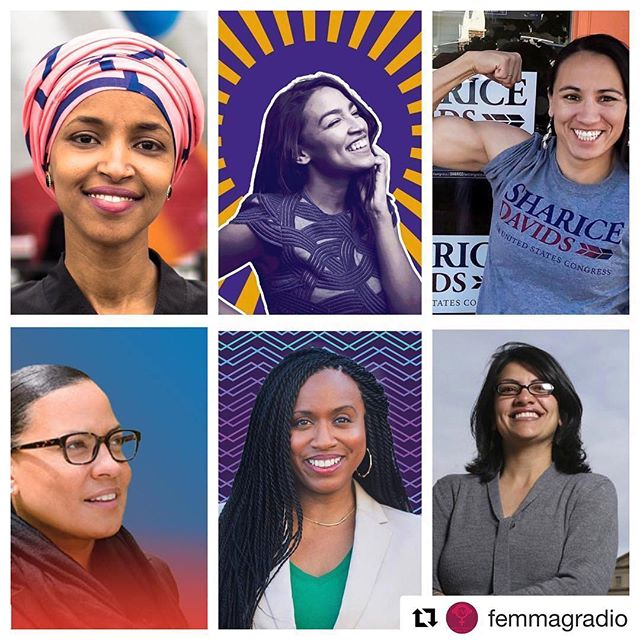 "#Repost @femmagradio ・・・ Wow This!!! Repost @af3irm: ""Election Analysis as the results are coming in: you pissed off women of color big-time, now they are taking seats of power! This is no small thing! Vote today, organize tomorrow... with some new allies as decision-makers! #ElectionNight #WomenOfColor #Black #Native #Muslim #Queer #TheTakeover individual photos via @shaunking ✨✨✨✨ LEFT TO RIGHT, TOP TO BOTTOM: Ilhan Omar (first Somalian-American elected to Congress), Alexandria Ocasio-Cortez (youngest woman elected to Congress), Sharice David's (openly gay Native woman flipped a red seat blue in Congress), Rachael Rollins (first Black Boston DA elected in history), Ayanna Pressley (first Black Woman elected to Congress from Massachusetts), and Rashida Tlaib (first Muslim and Palestinian Woman ever in Congress)"""
