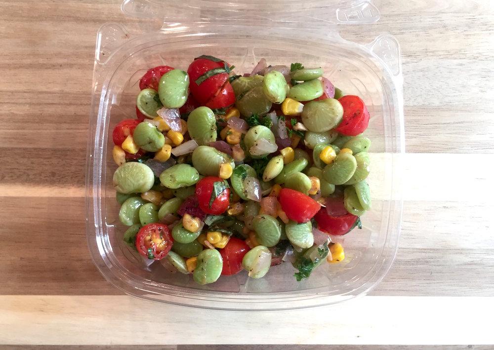 Succotash - Organic limas, corn, cherry tomatoes & herbs.