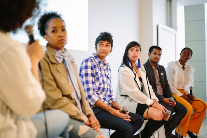 Pictured (L to R)- Julia Turshen, Maya-Camille Broussard, Preeti Mistry, Yana Gilbuena,  Nik Sharma, and Shakirah Simley