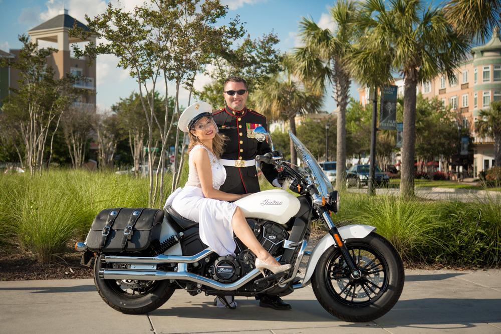 Myrtle-Beach-Marine-Army-Motorcycle-Wedding
