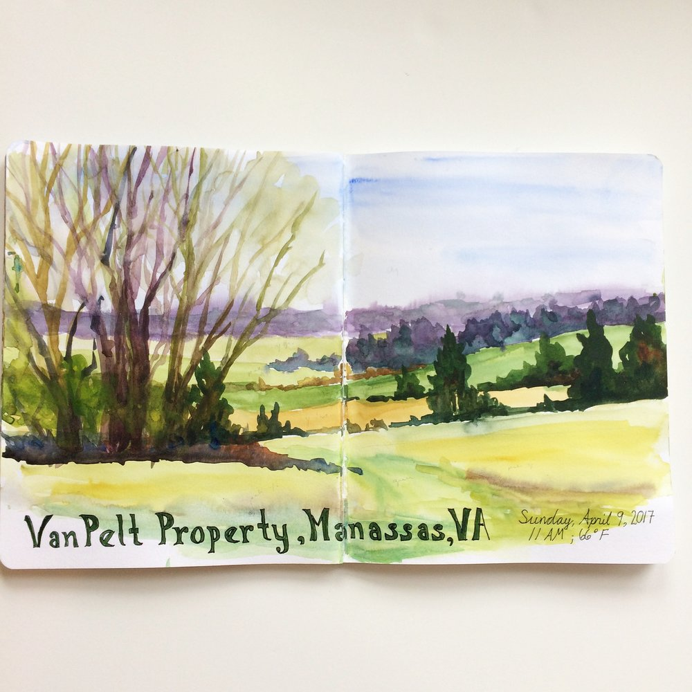 Here's the original watercolor sketch done at the Manassas Battlefield National Park.