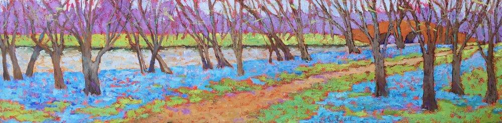"""Blue Bell River Run"" 12""x48"" x1.5"" oil on cradled birch panel."