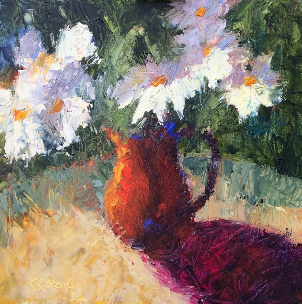 """""""Dandy Daisies"""" 12""""x12"""" oil on gessobord archival panel"""