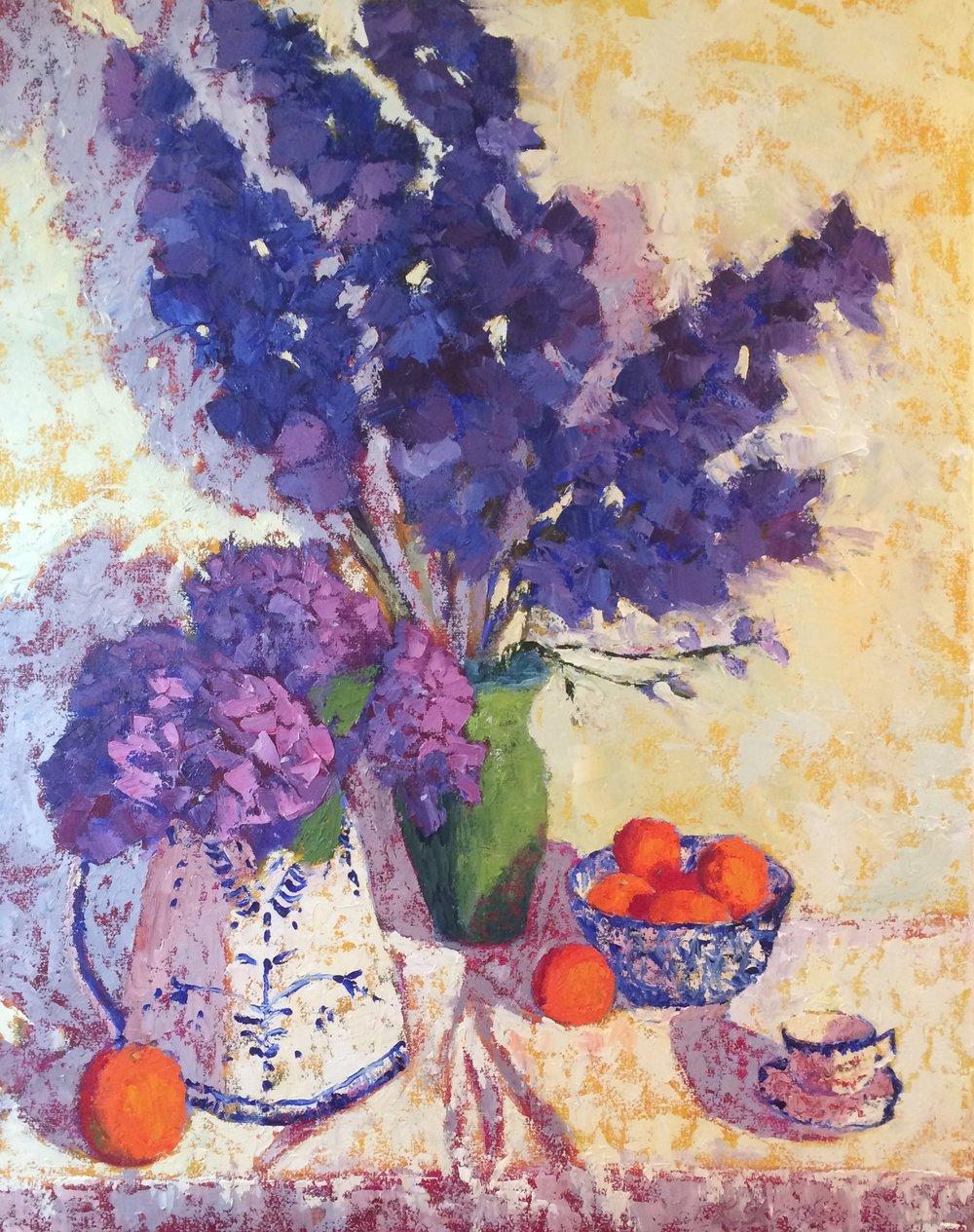 """Delphinium Blues"" 30""x24""x1.5"" oil on deep gallery wrap canvas - SOLD"