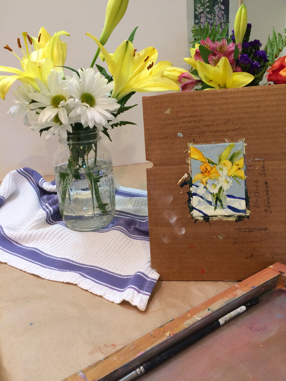 Lilies and Daisies, ACEO detail.jpg
