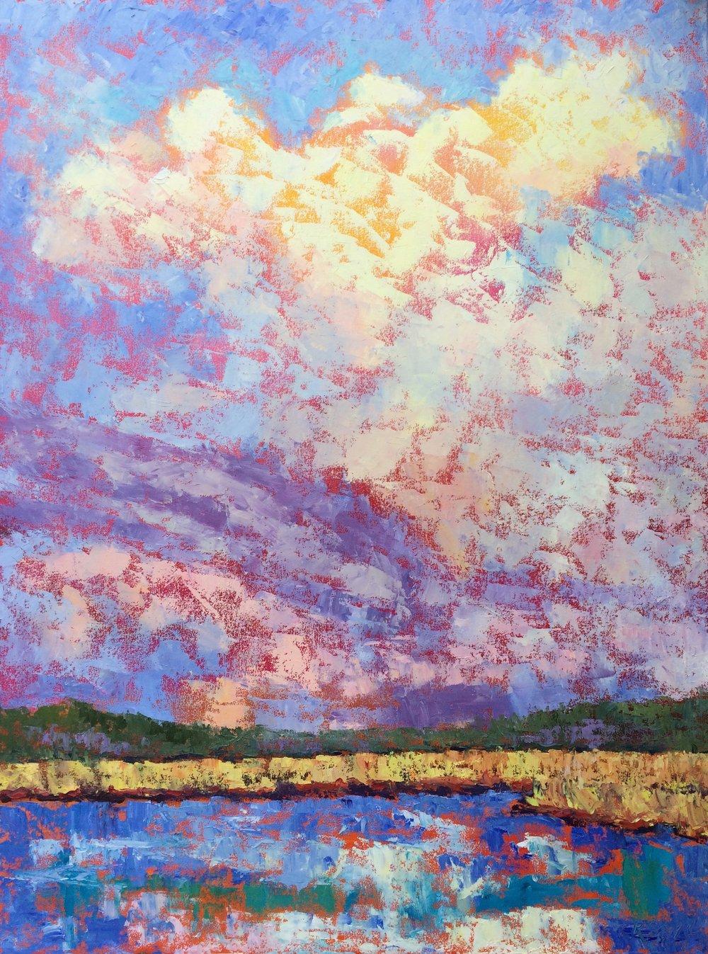 "Ascending, 40""x30""x1.5"" oil on canvas"