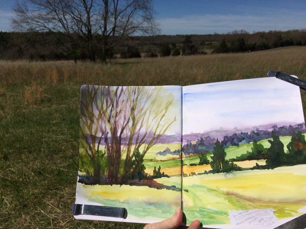 Sketchbook scenes gathered at Manassas Battlefield National Park,  April 2017.